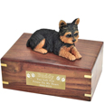 Pet Urns: Yorkshire Terrier Figurine Wood Urn- Puppycut