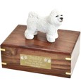 Pet Urns: Bichon Frise Figurine Wood Urn