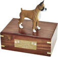 Pet Urns: Boxer Figurine Wood Urn