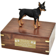 Miniature Pinscher Black & Tan Figurine Wood Urn