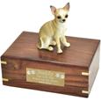 Pet Urns: Chihuahua White & Tan Figurine Wood Urn