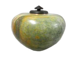 Sculpture Pet Urn Green Alabaster with African Wonderstone