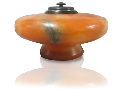 Sculpture Pet Urn Orange Alabaster Pedestal Urn
