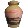 Ceramic Pet Urn: Misty Mountains