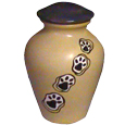 Ceramic Pet Urn: Paw Print Trail Sandstone