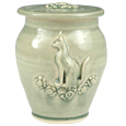 Cat and Flowers Artisan Pet Urn with Inscription Option