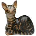 Laying Hand-Painted Cat-Shaped Urn- Custom Painting