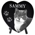 Pet Photo Laser Engraved Black Marble Heart- Large with stand