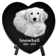 Pet Photo Laser Engraved Black Marble Heart- Medium with stand