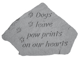 Garden Stone Pet Memorial: Dogs Leave Paw Prints (with small paw prints)