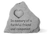 Garden Stone Pet Memorial: In Memory of a Faithful Friend (with Heart)