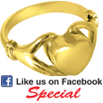 Gold Pet Cremation Jewelry: Heart Ring