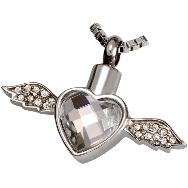 Pet cremation jewelry stainless steel winged heart for Stainless steel cremation jewelry