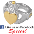 Pet Cremation Jewelry: Sterling Silver and Gold-plated Claddagh Ring