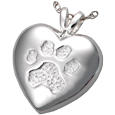 Textured Paw Print Heart Pendant