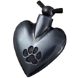 Black Heart Paw Print Pet Cremation Jewelry Pendant