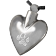 Nickel Heart Paw Print Pet Cremation Jewelry Pendant
