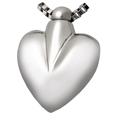 Pet Cremation Jewelry: Nickel-Plated Brass Modern Heart