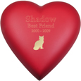 Brass Heart Cat Urn- Scarlet shown engraved