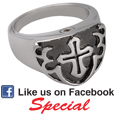 Pet Cremation Jewelry Sterling Silver Men's Cross Ring- Black