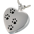 Cremation Jewelry: Paw Prints On My Heart Pendant