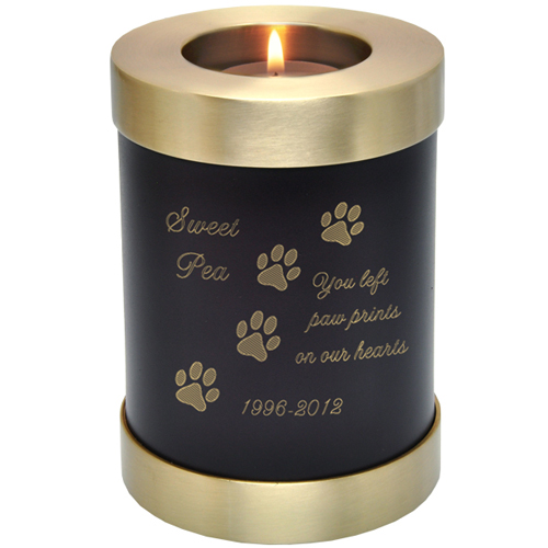 ... Memorial Urn Keepsake Votive Candle Holder shown engraved with candle