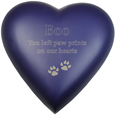 Brass Heart Cat Urn- Violet shown engraved