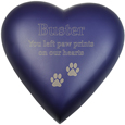 Brass Heart Dog Urn- Violet shown engraved
