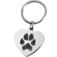 Stainless Steel Heart Tag Paw Print Pet Memorial Key Ring