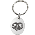 Stainless Steel Oval Tag Noseprint Pet Memorial Key Ring