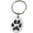 Stainless Steel Oval Tag Paw Print Pet Memorial Key Ring