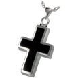 Pet Cremation Jewelry: Black Inlay Cross
