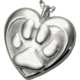 Double Heart Paw Print Pet Cremation Jewelry