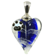 Pet Memorial: Blue Loving Memory Heart Pendant with Pawprint