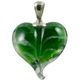 Pet Memorial: Green Loving Memory Heart Pendant
