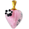 Pet Cremation Jewelry: Pink Loving Memory Heart Pendant with Pawprint
