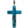 Pet Cremation Jewelry: Turquoise Cross