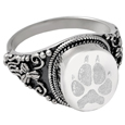 Pet Print Cremation Jewelry: Round Ring- Pawprint