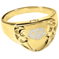 Engravable Shield Ring- Noseprint pet print gold jewelry