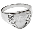 Engravable Shield Ring- Noseprint pet print jewelry
