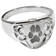 Engravable Shield Ring- Pawprint pet print jewelry