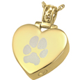 Pet Print Cremation Jewelry: Heart Filigree Bail with Actual Pawprint