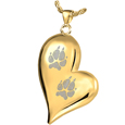 Pet Print Cremation Jewelry: Teardrop Heart 2 Pawprints