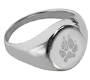 Sterling Silver Elegant Round Ring Paw Print Pet Memorial Jewelry