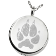 Pet Print Cremation Jewelry: Simple Round Pawprint