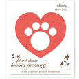 20 Plantable Paw Print & Heart Memorial Cards + Envelopes