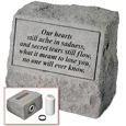 Garden Stone Pet Urn Memorial: Our hearts still ache...