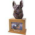 German Shepherd Cremation Dog Picture Urn- Oak