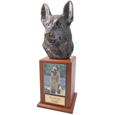 German Shepherd Cremation Dog Tower Urn- Oak