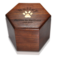Paw Print Hexagon Wood Urn